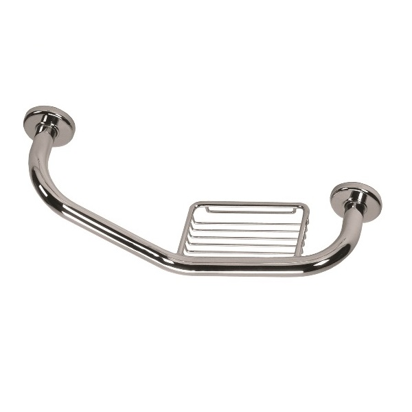 Barra ângulo c/ esponjeira concebida para auxiliar no banho.