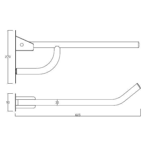 Barra de apoio rebativel simples dirt 30mm
