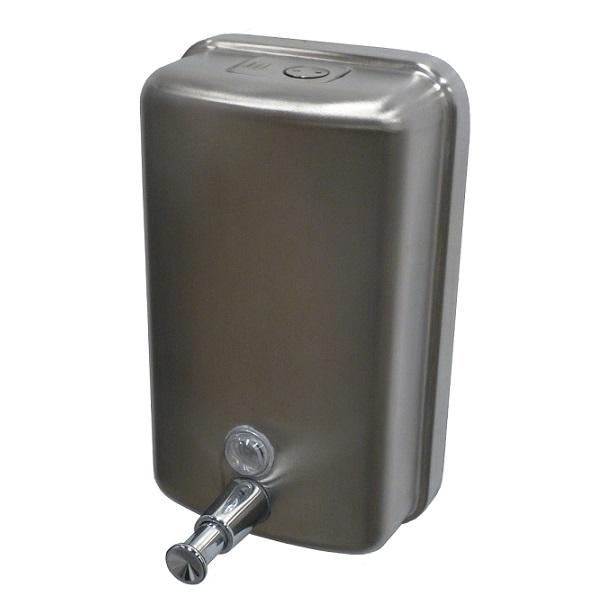 Doseador 1LT de sabão liquido com depósito interior que evita derrame para o exterior ao longo do tempo, ideal em espaços públicos graças ao sistema de fecho anti-vandalismo.