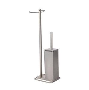 Toalheiro concebido para executar duas funções em simultâneo, suporte do papel higiénico e piaçaba para higiene da sanita. Ideal para quem não quer furar parede.