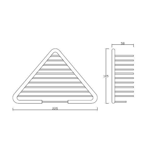 Saboneteira triangular concebida para utensílios de banho, possibilidade de colocar no canto da parede.