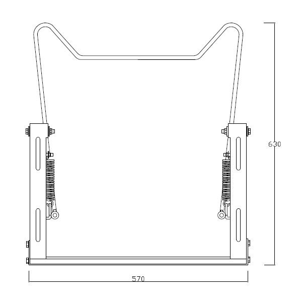 Estrutura Basculante com Mecanismo pneumático para inclinação de lavatório de accionamento manual.